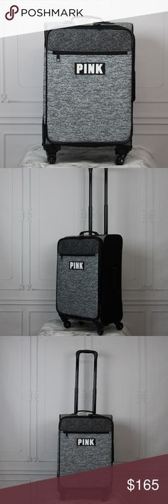 """VS PINK VACAY Wheelie Spinner Suitcase Marl Gray Victoria's Secret PINK Marl Gray 21"""" Spinner Suitcase - Luggage/carry on New with tags -   Style: Spinner  Wheelie / Suitcase Color: Light Grey Marl / Marled Size: 21""""H x 14.25""""W x 7""""D  Four, 360° spinning wheels Meets carry on requirements for most major airlines Expandable main compartment Retractable pull handle Exterior zip pocket Top and side handles for easy lifting Imported Polyester  If you have any questions feel free to message me…"""