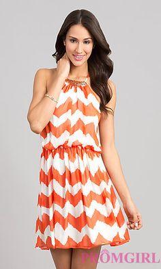 Printed Short Summer Dress by As U Wish at PromGirl.com