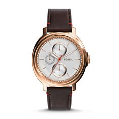 #Fossil Chelsey Multifunction Leather Watch in Brown