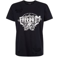 Black Freedom Print Short Sleeve T-Shirt  | New Look