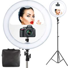 "18"" LED Video Ring Light with Mirror, 6ft Stand Tripod, Adjustable Heavy Duty Mount for DSLR, iPhone & Android SmaStudio..."