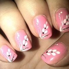 romantic nails -pink with white flowers