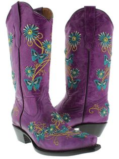 sparkly cowboy boots for women   Womens Cowboy Boots Ladies Leather Embroider Butterfly Flower ...
