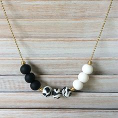 Black and white necklace polymer clay necklace by Rubybluejewels