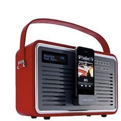 VIEW QUEST RETRO DAB+ RED LEATHER - DAB+/FM RADIO/ iPOD DOCKING STATION/ ALARM