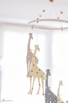 Giraffes Baby Wooden Mobile-Gray Yellow Beige Neutral by SUNandCo