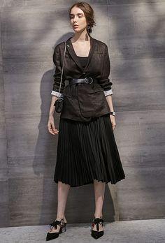 #AdoreWe Few Moda, Minimalistic Fashion Brands Online - Designer Few Moda Open Fork Black Pleated Skirt SK0219 - AdoreWe.com