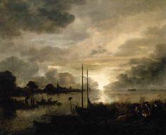 NEER, Aert van der  (b. 1603/04, Amsterdam, d. 1677, Amsterdam)  Estuary Landscape by Moonlight Oil on panel, 63 x 76 cm Private collection