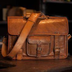 Roosevelt Camel Leather Laptop Bag