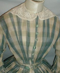 """bodice - 1860s Slate Blue Plaid Dress 