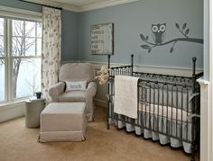 Nursery Idea. Love the chair rail idea with the blue and white walls.