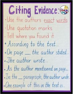 Upper Elementary Snapshots: Citing Text Evidence in 6 Steps - a great way to explicitly teach kids how to cite, with models and examples of what that looks like. Evidence Anchor Chart, Citing Text Evidence, Writing Anchor Charts, 6th Grade Writing, 6th Grade Ela, 5th Grade Reading, Fourth Grade, Sixth Grade, Writing Strategies