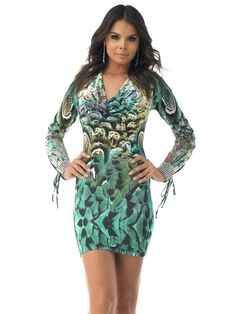 Buy online SKY Draped Neckline Hudes Mini Dress in Green multi combo print and other Cocktail at enchantressco.com.