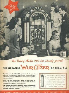 Vintage Ad for Wurlitzer Model 950 Jukebox of 1942  via Flickr