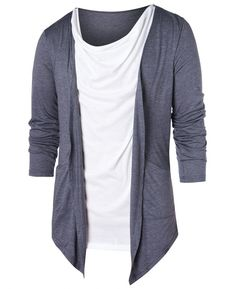 Our Size Chest Length Shoulder Width Sleeve Width Sleeve Length S: Material: Polyester,Rayon Sleeve Length: Full Collar: Collarless Style: Casual Pattern Type: Patchwork Season: Fa Cheap T Shirts, Cool T Shirts, Mens T Shirts Online, Casual Chic Style, My T Shirt, Tshirt Colors, Shirt Style, Contrast Color, Sleeves