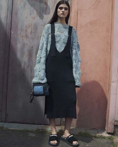 The layering trend continues into 2017 but this time with oversized sweaters and dungaree style dresses and flip flops. Interesting mix of cuddle up cosy and sports luxe. This look is from See by Chloé Resort 2017 Fashion Show #Mylifemystyle