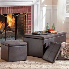 3-in-1 Faux Leather Storage Ottoman