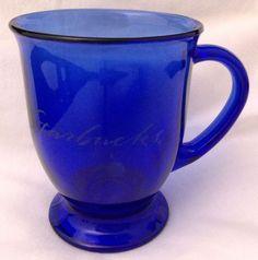 Vtg Starbucks Cobalt Blue Glass Footed Mug Etched 16 Oz Anchor Hocking USA