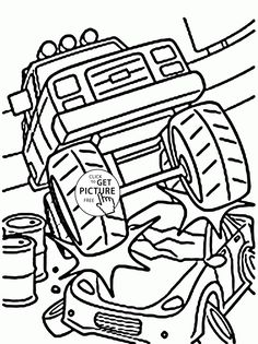 Smashing Monster Car Coloring Page For Kids Transportation Pages Printables Free