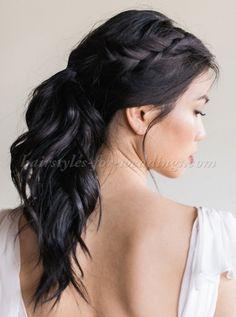 ponytail wedding hairstyles - ponytail wedding hairstyle with braid
