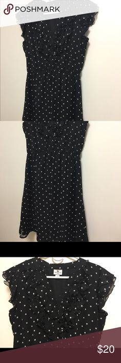 Black polka dot dress with ruffle collar Worthington black polka for dress with ruffle collar, super cute for a date night or under a blazer for work. Size: 14P but I'm 5'5 and looks great at my height too. Worthington Dresses
