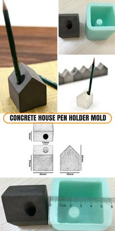 With this silicone mold I could make myself an awesome concrete pen holder for my office desk. I could also use it as a paper weight. #commissionlink #concrete #cement #house #mold #silicone #penholder #office #desk #decor