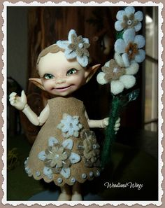 Spring Flower Dress, Headband and a needle felted flower branch by WoodlandWings, $35.00