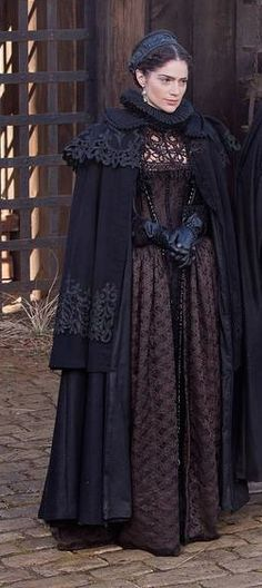 "Here's Mary on set with the dress.  The Cape is another ""Married piece"" with trims from two Victorian capes applied to the 17th century pattern.  I think it works well together with the dress."