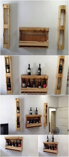 On the next on our list we will talk about the uniquely designed wood pallet wine rack concept that is all set with the concept of the stylish flavors. It is basically a style of the wall shelf that you can beautify with the use shelves over the left and right side as well as for the purpose of beautification.
