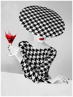 En blanco y negro. Black and white photographs of hats Arte Fashion, Ideias Fashion, Fashion Design, White Photography, Fashion Photography, Foto Art, Black White Red, Belle Photo, Houndstooth