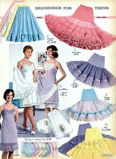 Vintage Lingerie Cute petticoats and slips from Alden's catalog. // Interesting white trim on the purple slip! 1950s Fashion, Girl Fashion, Vintage Fashion, Womens Fashion, Edwardian Fashion, Gothic Fashion, Mode Vintage, Retro Vintage, Vintage Dresses