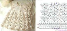 Crochet Designs Free: Charming dress in crochet for girls with graphic Beau Crochet, Crochet Baby Dress Pattern, Baby Girl Crochet, Crochet Baby Clothes, Crochet For Kids, Crochet Stitch, Kids Dress Clothes, Baby Girl Vest, Baby Booties Free Pattern