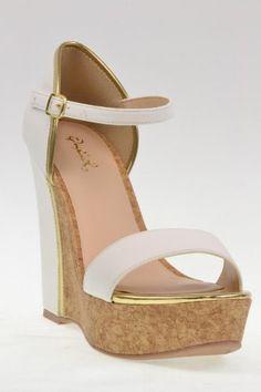 Clemence-34, R 12, white, women's wedge sandal, size 7
