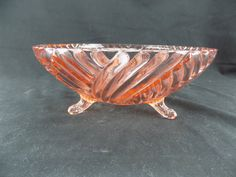 Pink Anchor Hocking Line 979 Prismatic aka Swirl Rib Pink Footed Bowl Made in…