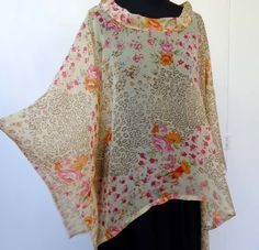 Tunique taille libre en voile de polyester jaune et orange imprimé style patchwork : Chemises, blouses par akkacreation