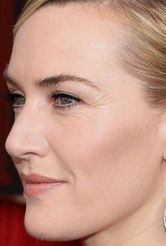 Close-up of Kate Winslet at the 2016 SAG Awards. http://beautyeditor.ca/2015/02/24/oscars-2015
