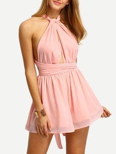 Light Pink Convertible Strap Chiffon Jumpsuit