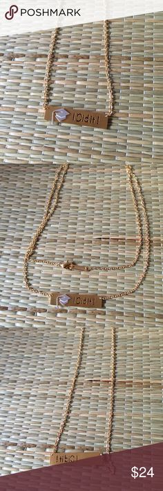 I DID iT! GOLD GRADUATION BAR NECKLACE  I did it! Gold, graduation, bar necklace. Perfect graduation gift and she deserves it because she did it! Great high school/college, doctorate/masters gift. 18K gold plated stainless steal. Reasonable offers welcome. My environment is clean/organized/pet/smoke free. That you for shopping my closet. Jewelry Necklaces