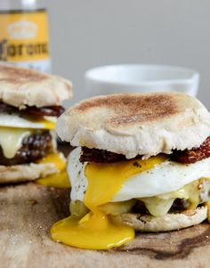 Bacon Cheeseburger Sandwich with Fried Egg and Sweet Maple Aoli
