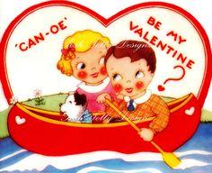 Canoe Be My Valentine 1930s Vintage Greetings by poshtottydesignz, $2.50