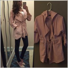 Perfect spring/summer jacket Blush colored waterfall collar jacket. Not lined. Full length or rolled up sleeves. Attached hood and a drawstring at the waist. Euc. Jackets & Coats Trench Coats