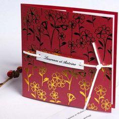 faire part mariage rouge romantique fleur de bonheur JM138