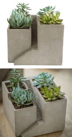 Look closely at the detail in this Sunderland Cube Planter. We see an architectural rendition of a castle-type structure with cascading stairs. We also see a perfectly charming venue for placing diminu...  Find the Sunderland Cube Planter, as seen in the Cemented Industrial Style Collection at http://dotandbo.com/collections/cemented-industrial-style?utm_source=pinterest&utm_medium=organic&db_sku=121563