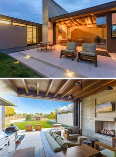 This contemporary home has a small indoor/outdoor living room with a fireplace, a dining area, and a barbeque.