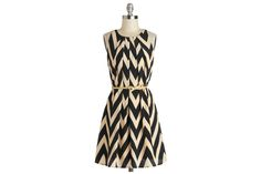 This simple A-line chevron is belted for a polished look. Great Wavelengths Dress in Black from #modcloth | Washingtonian