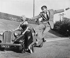 Sammy Davis leaps for Marilyn Monroe. Click for more cool movie memorabilia and #autoart