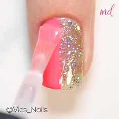 Easy, simple and cute manicure ideas! By @vics_nails Manicure Ideas, Pedicure, Bridal Nail Art, Amazing Life Hacks, Nail Art Videos, Pretty Nail Art, Glitter Nail Art, Nail Decorations, Ideas Para