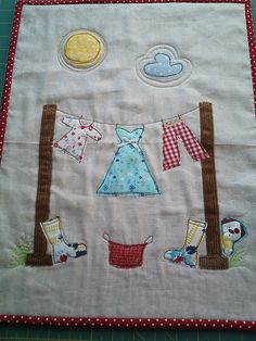 adorable clothesline applique mini quilt