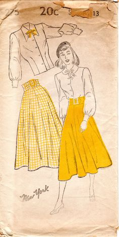 1940s Skirt and Blouse Pattern - Vintage New York 275 - Size 13 FF Juniors Separates by ErikawithaK on Etsy