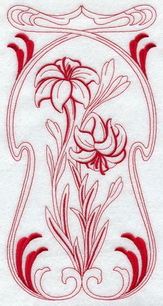 (^_^) Art Nouveau lilies -Machine Embroidery Designs at Embroidery Library! - New This Week Art Nouveau Tattoo, Tatuaje Art Nouveau, Machine Embroidery Quilts, Machine Embroidery Designs, Embroidery Stitches, Embroidery Patterns, Hand Embroidery, Flores Art Nouveau, Art Nouveau Flowers